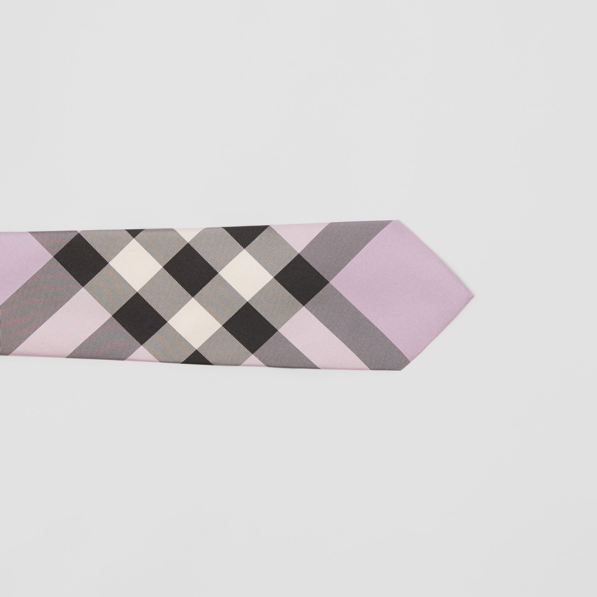 Modern Cut Check Silk Tie in Lilac - Men | Burberry Australia - gallery image 1