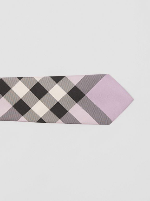 Modern Cut Check Silk Tie in Lilac - Men | Burberry Australia - cell image 1