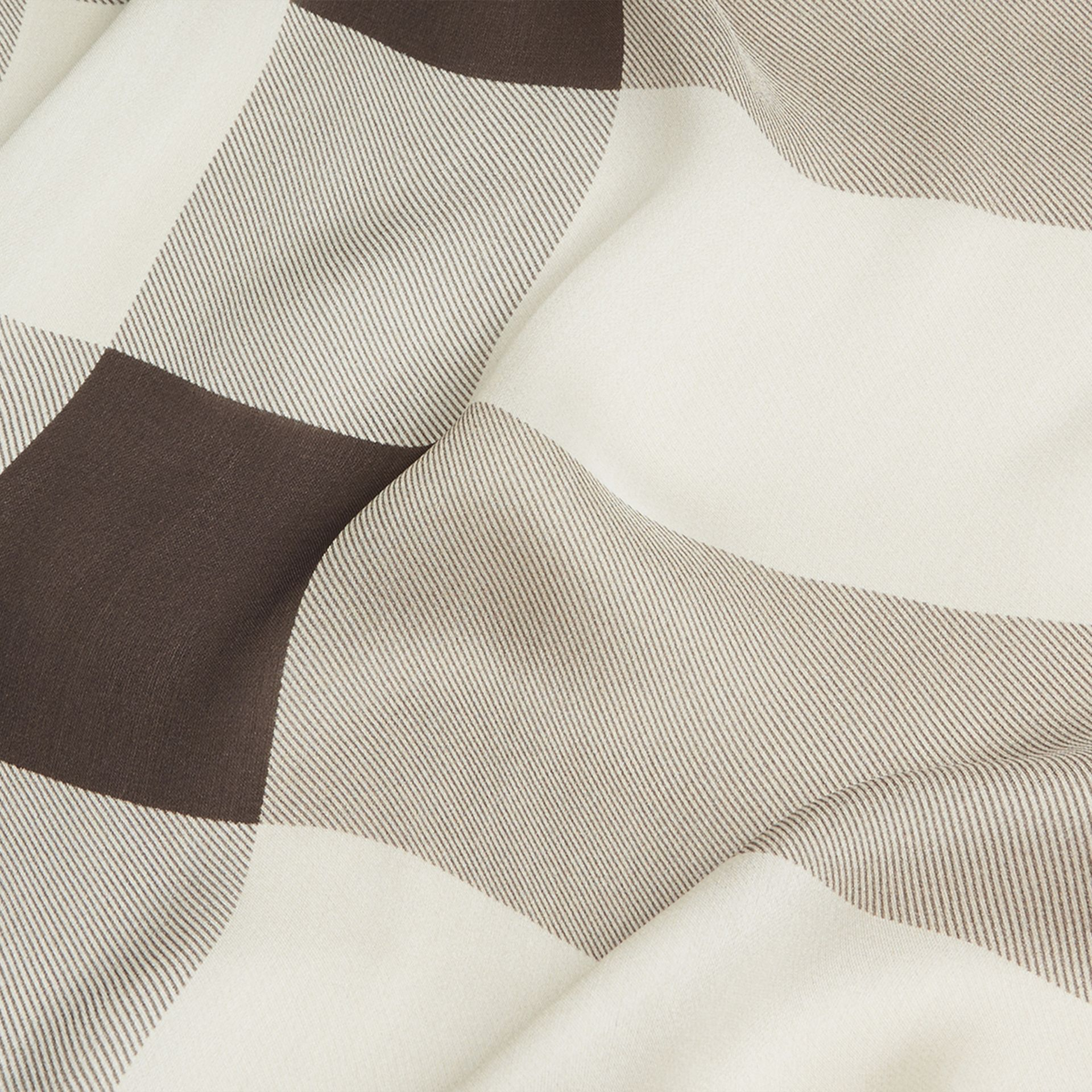 Lightweight Check Silk Scarf in Stone - Women | Burberry - gallery image 2