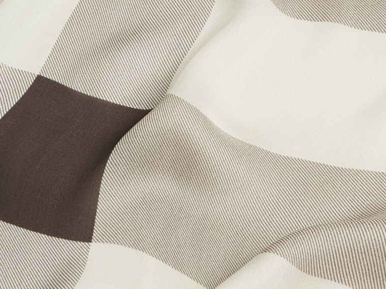 Lightweight Check Silk Scarf in Stone - Women | Burberry - cell image 1