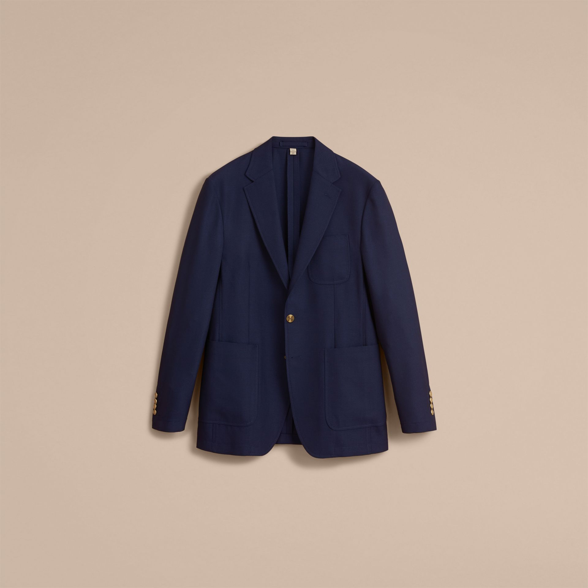 Slim Fit Wool Hopsack Tailored Jacket in Navy - Men | Burberry - gallery image 4
