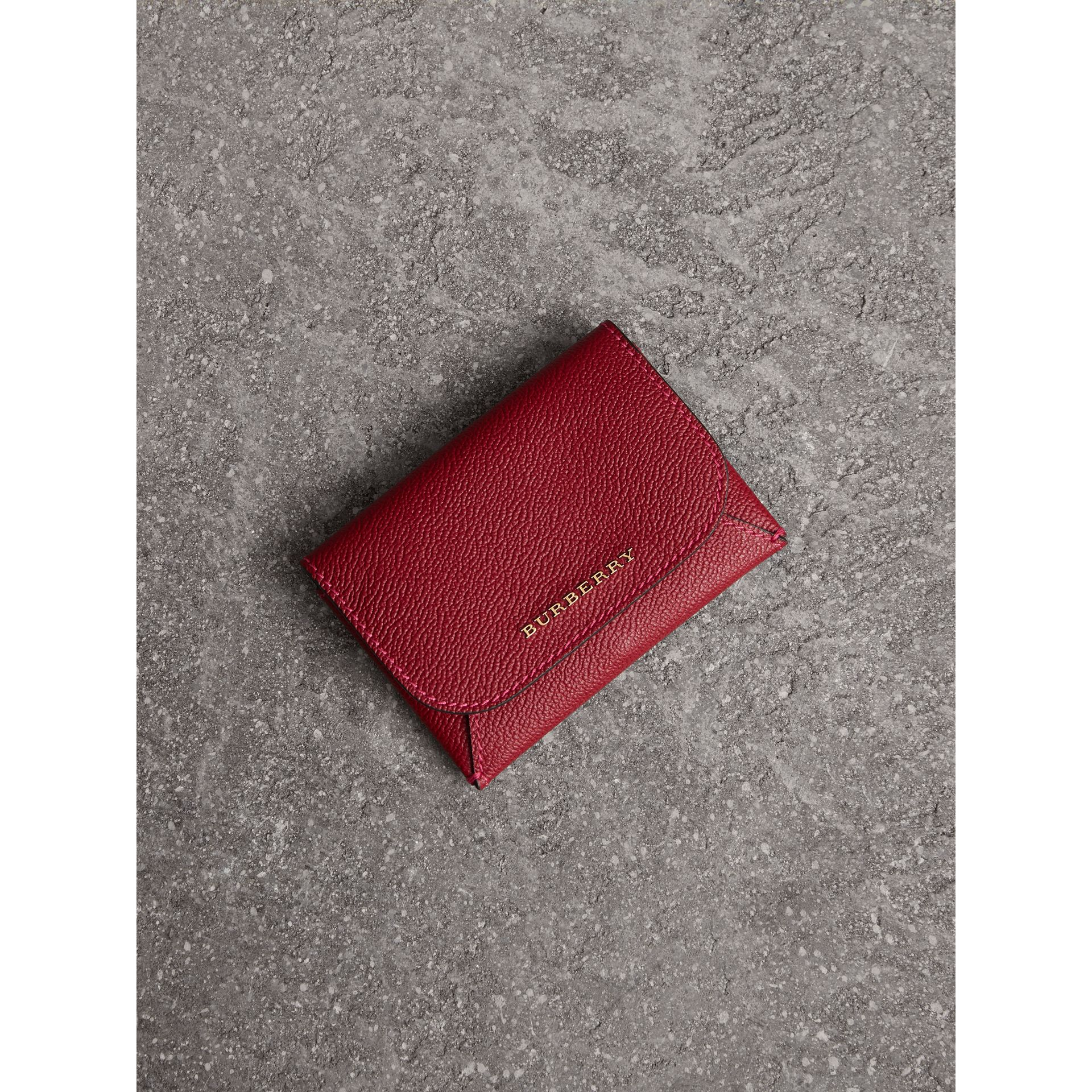 Leather Coin Case with Removable Card Compartment in Parade Red/multicolour - Women | Burberry - gallery image 0