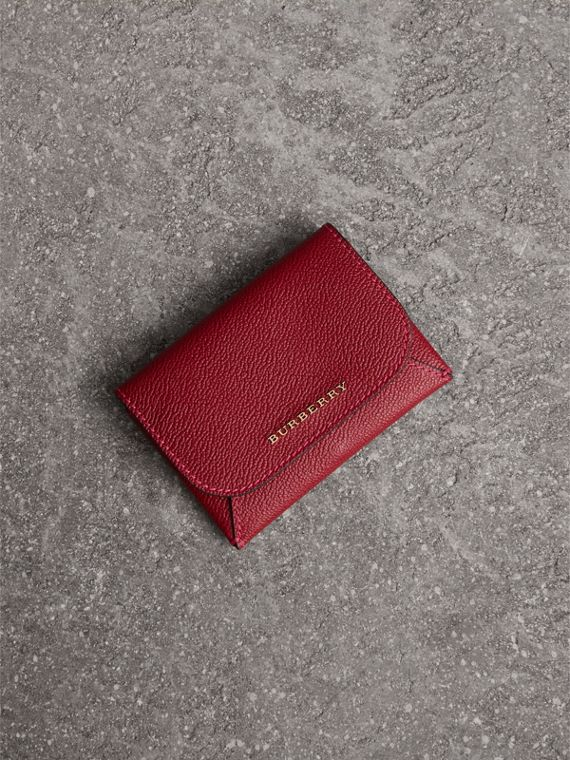 Leather Coin Case with Removable Card Compartment in Parade Red/multicolour