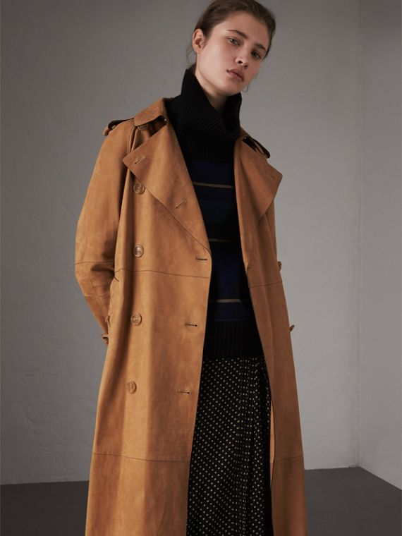 Nubuck Trench Coat in Caramel