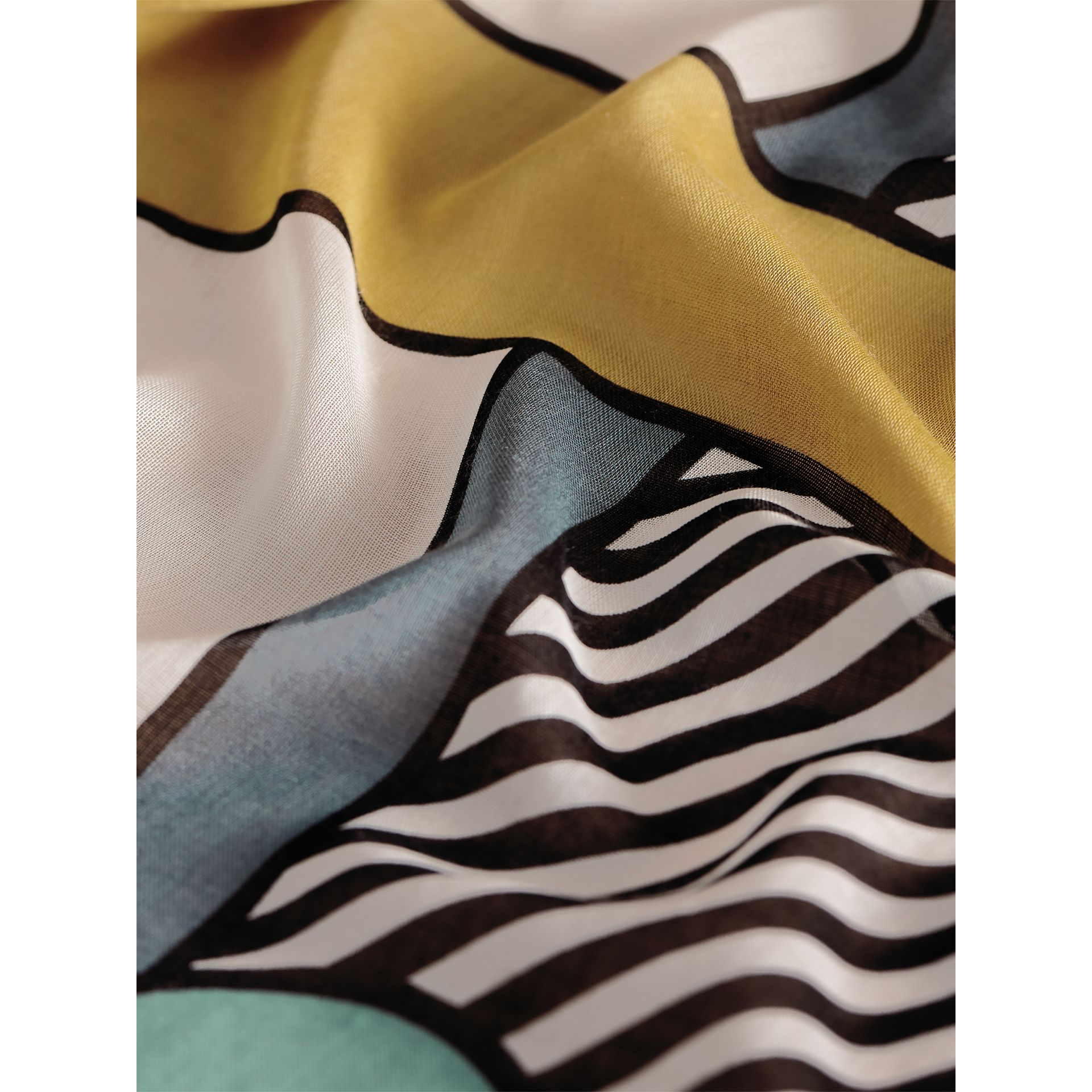 Striped Exaggerated Check Cashmere Silk Scarf in Light Mint - Women | Burberry - gallery image 2