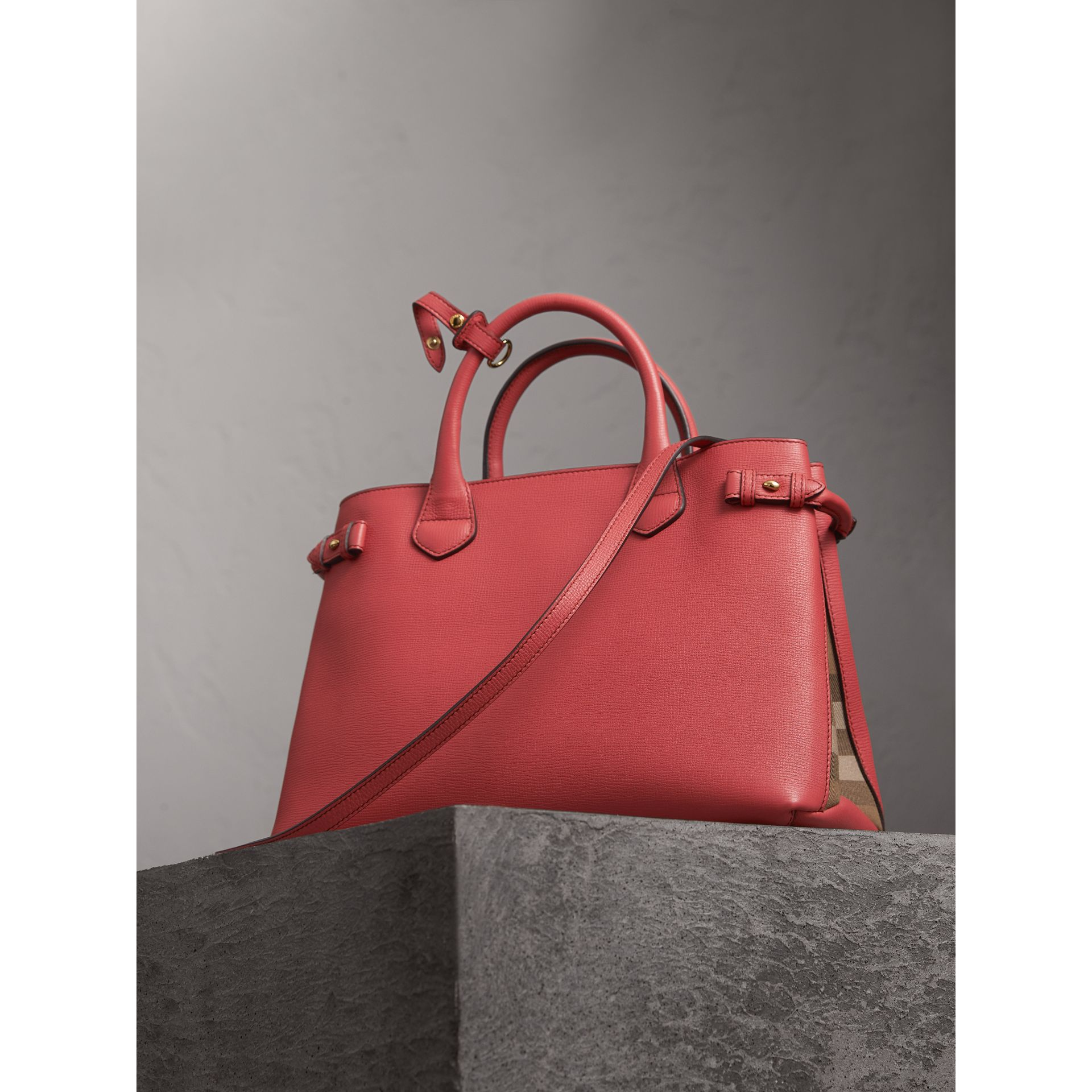The Medium Banner in Leather and House Check in Cinnamon Red - Women | Burberry - gallery image 5