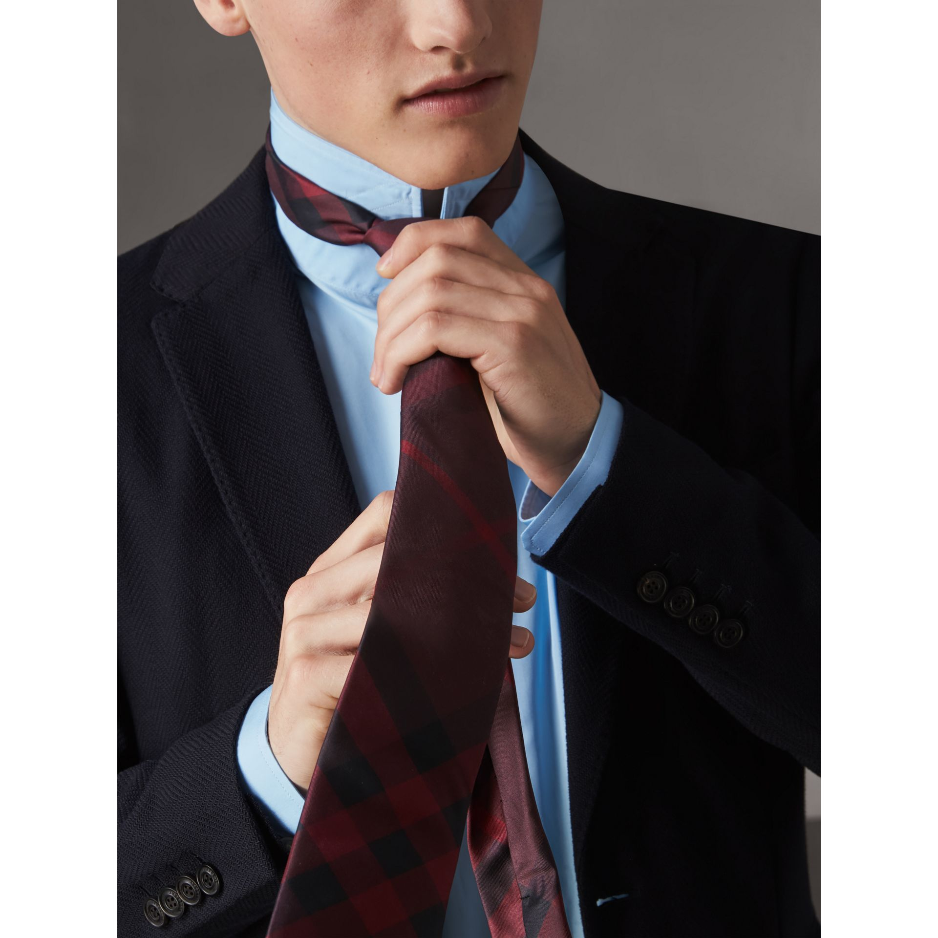 Modern Cut Check Silk Tie in Deep Claret - Men | Burberry - gallery image 2