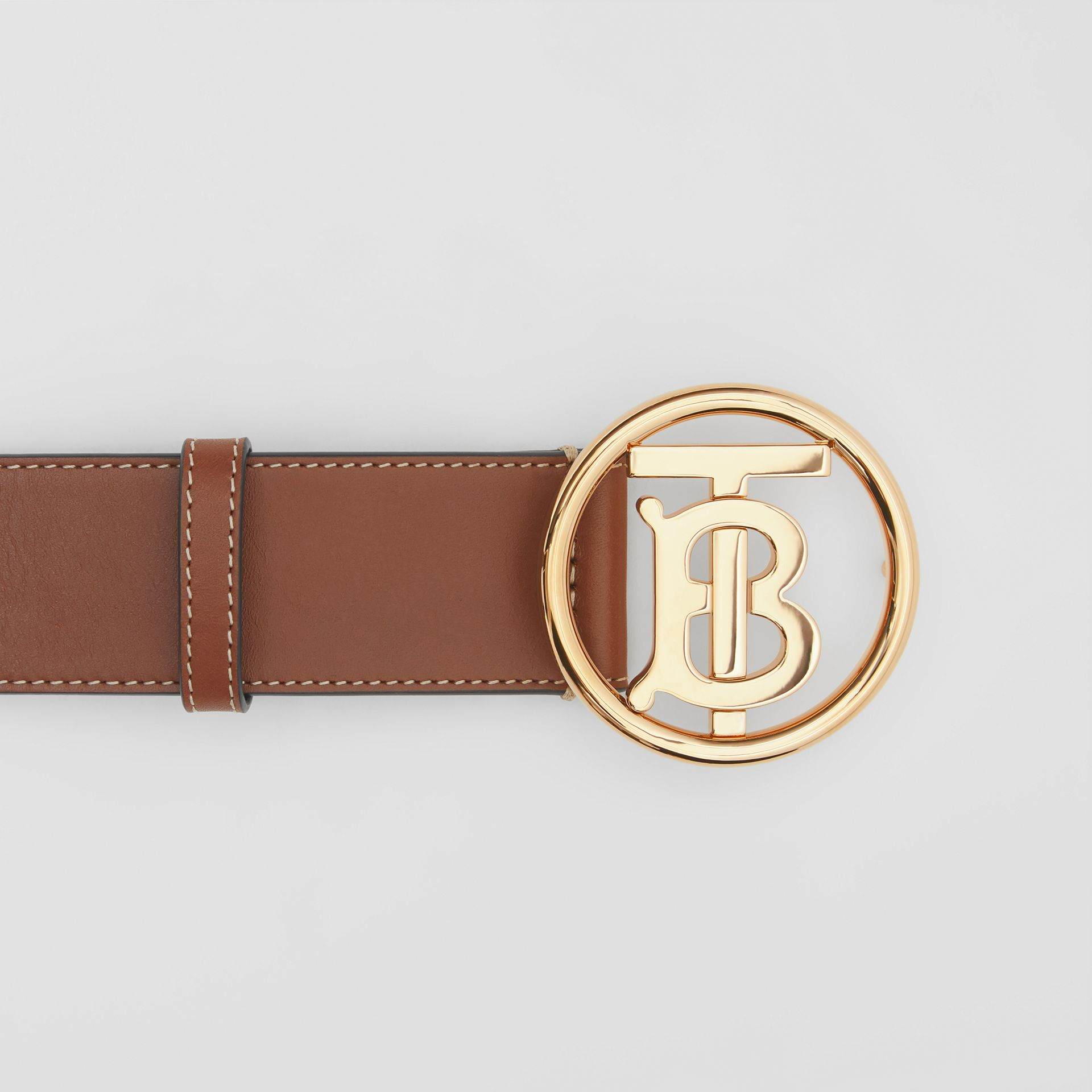 Monogram Motif Topstitched Leather Belt in Tan - Men | Burberry United Kingdom - gallery image 1