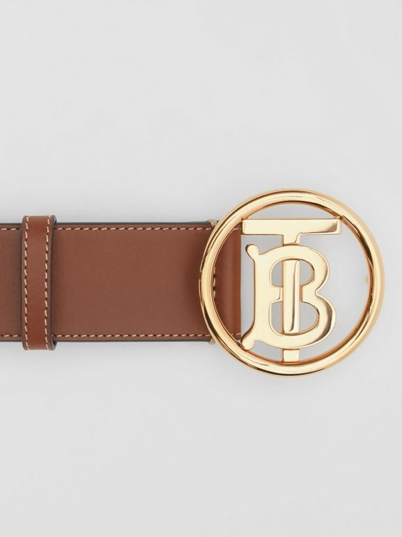 Monogram Motif Topstitched Leather Belt in Tan - Men | Burberry United Kingdom - cell image 1