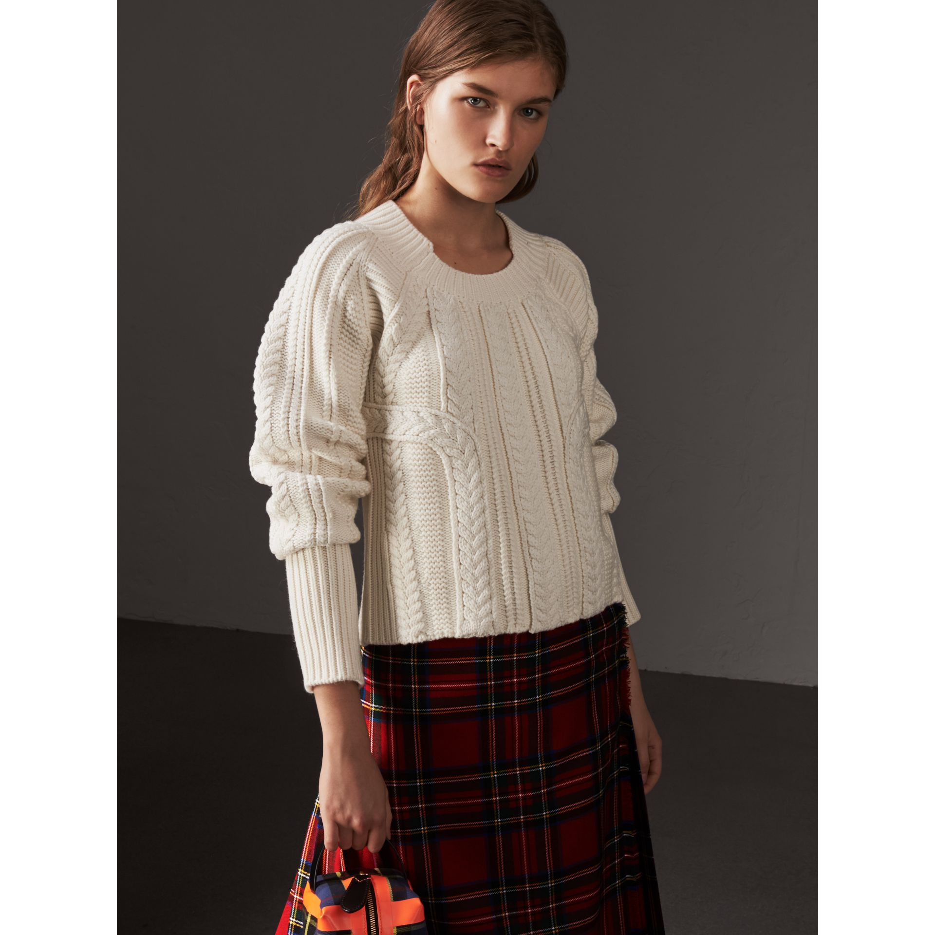 Cable Knit Wool Cashmere Sweater in Natural White - Women | Burberry - gallery image 3