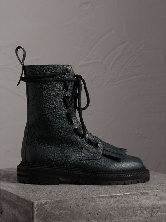 Fringe Detail Grainy Leather Military Boots in Deep Viridian Green