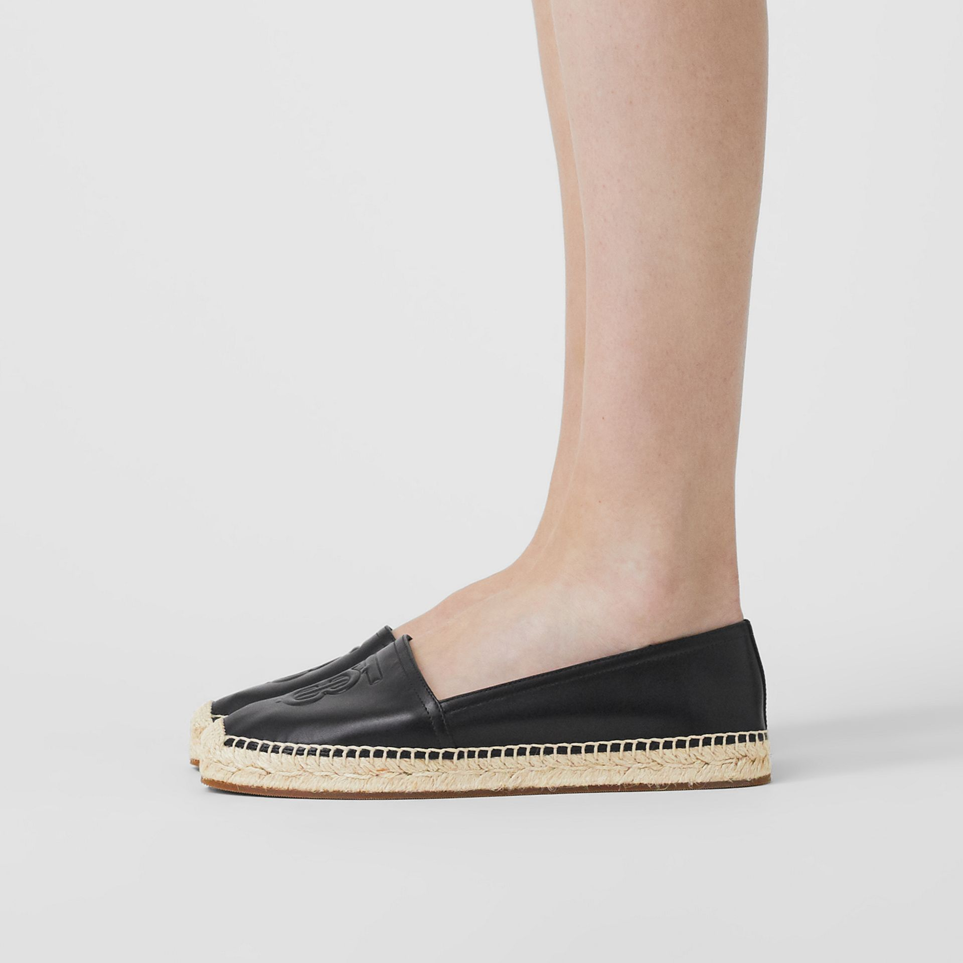 Monogram Motif Leather Espadrilles in Black - Women | Burberry United Kingdom - gallery image 2