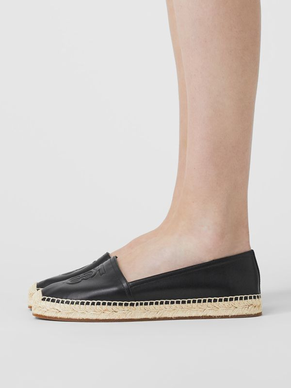 Monogram Motif Leather Espadrilles in Black - Women | Burberry United Kingdom - cell image 2