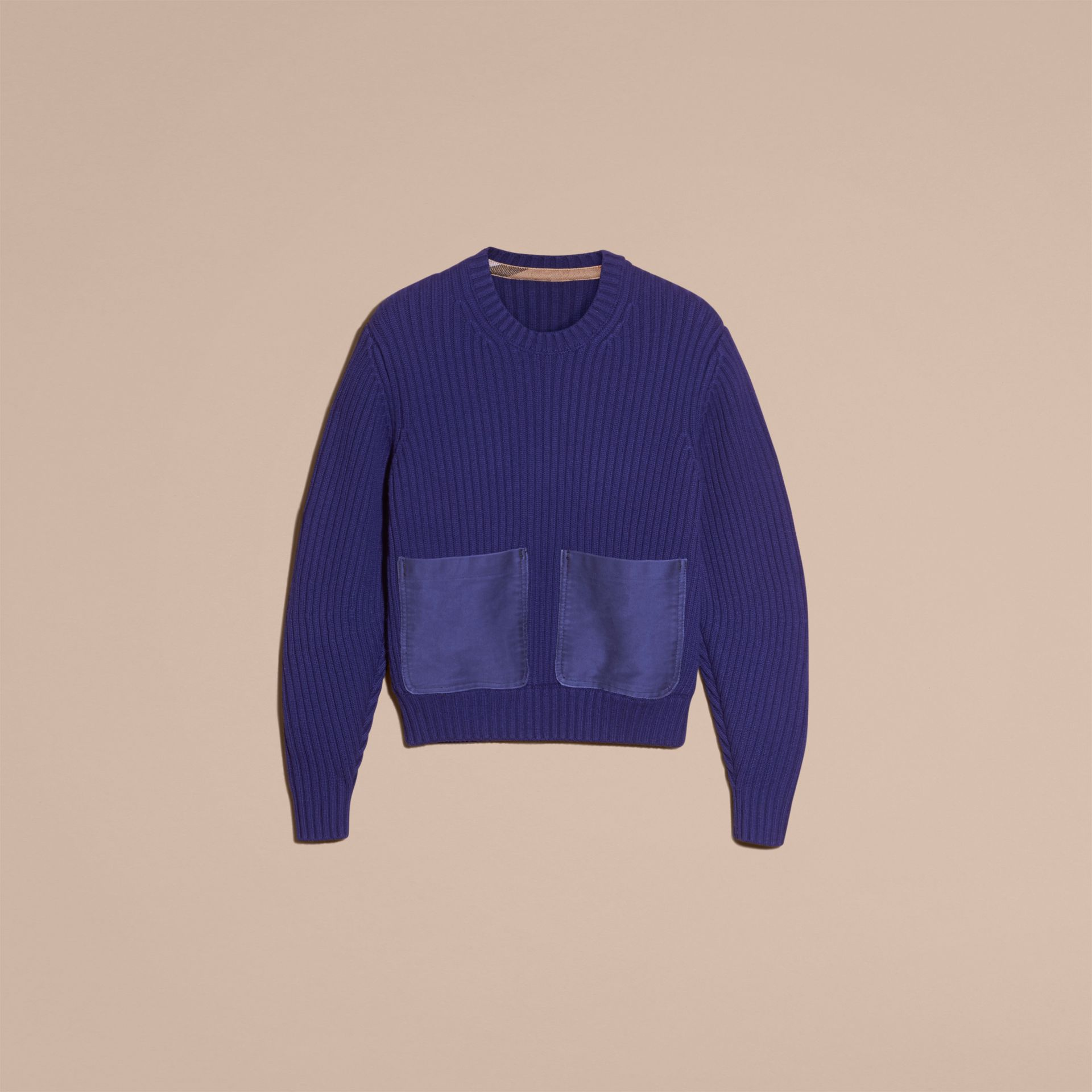 Oversize Pocket Detail Rib Knit Cashmere Cotton Sweater in Bright Navy - Women | Burberry - gallery image 4