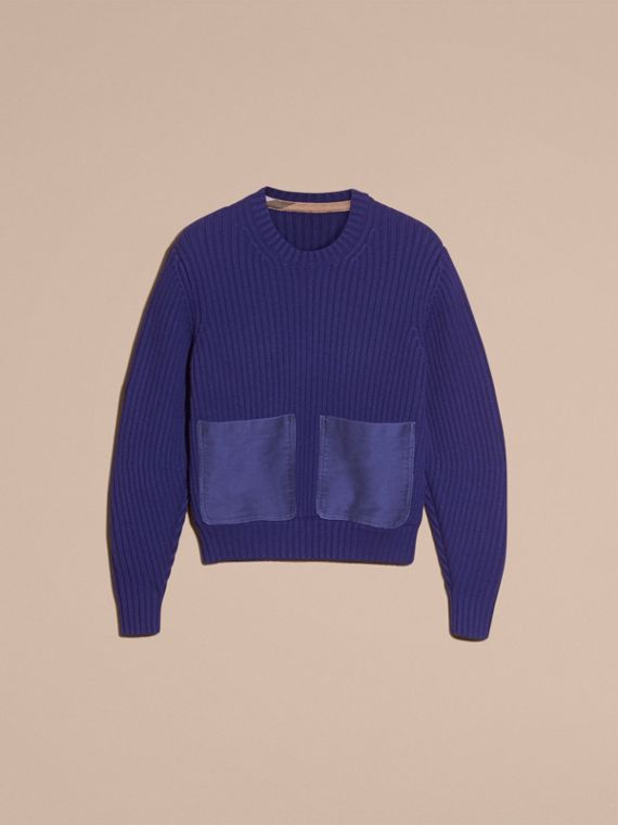 Oversize Pocket Detail Rib Knit Cashmere Cotton Sweater in Bright Navy - Women | Burberry - cell image 3