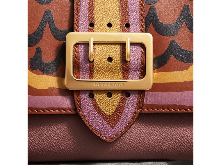 The Buckle Crossbody Bag in Trompe L'oeil Leather in Dusty Pink/bright Toffee - Women | Burberry - cell image 1