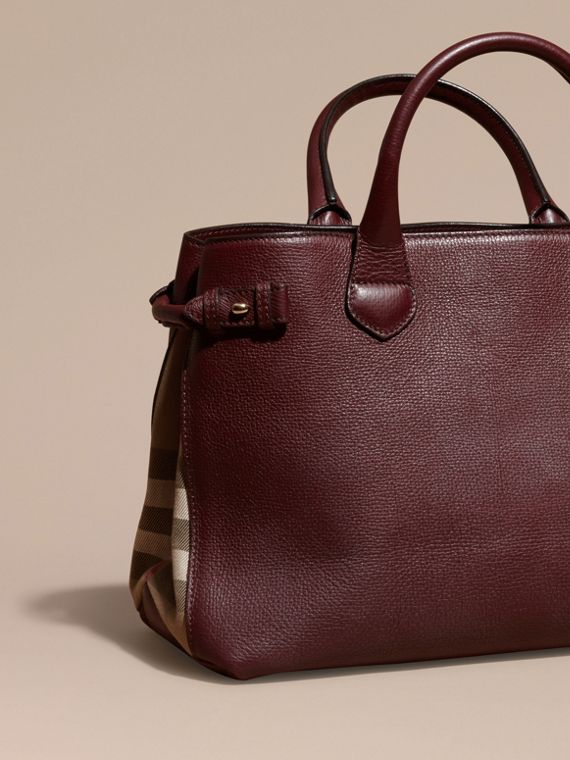 The Medium Banner in Leather and House Check in Mahogany Red - Women | Burberry - cell image 3