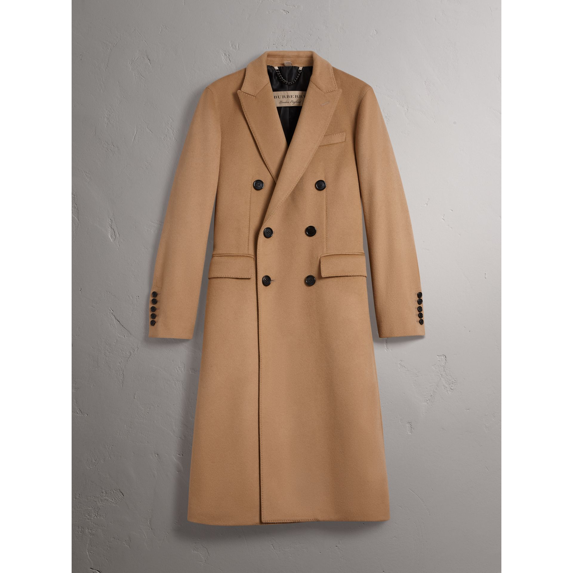 Double-breasted Extra Long Wool Cashmere Coat in Camel - Men | Burberry United States - gallery image 4