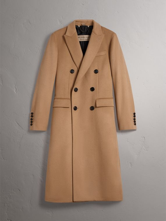 Double-breasted Extra Long Wool Cashmere Coat in Camel - Men | Burberry Singapore - cell image 3
