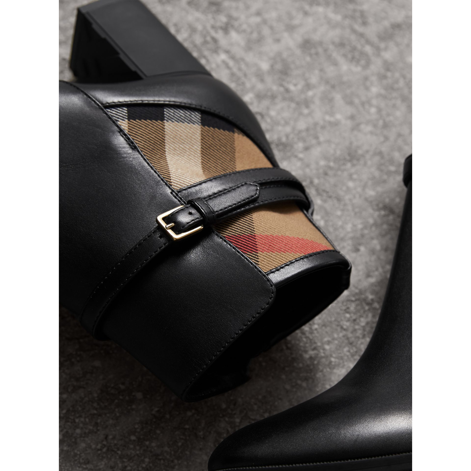House Check and Leather Ankle Boots - Women | Burberry - gallery image 2