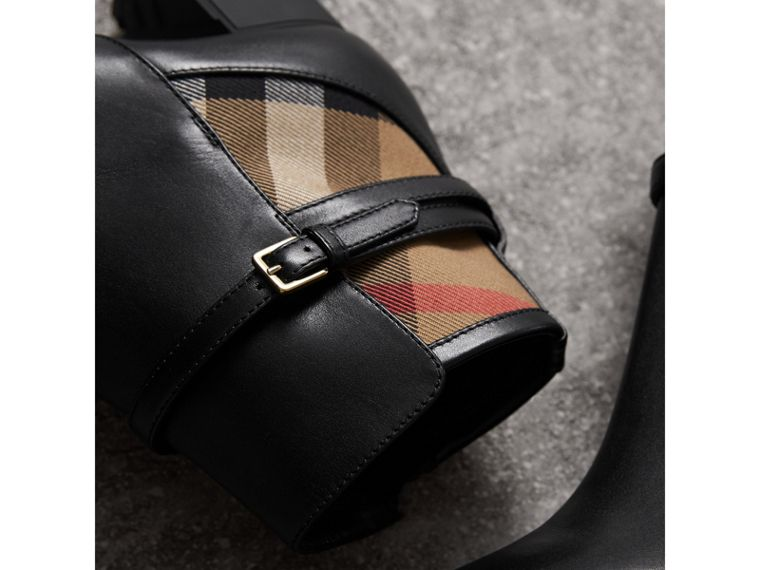 House Check and Leather Ankle Boots in Black - Women | Burberry Canada - cell image 1