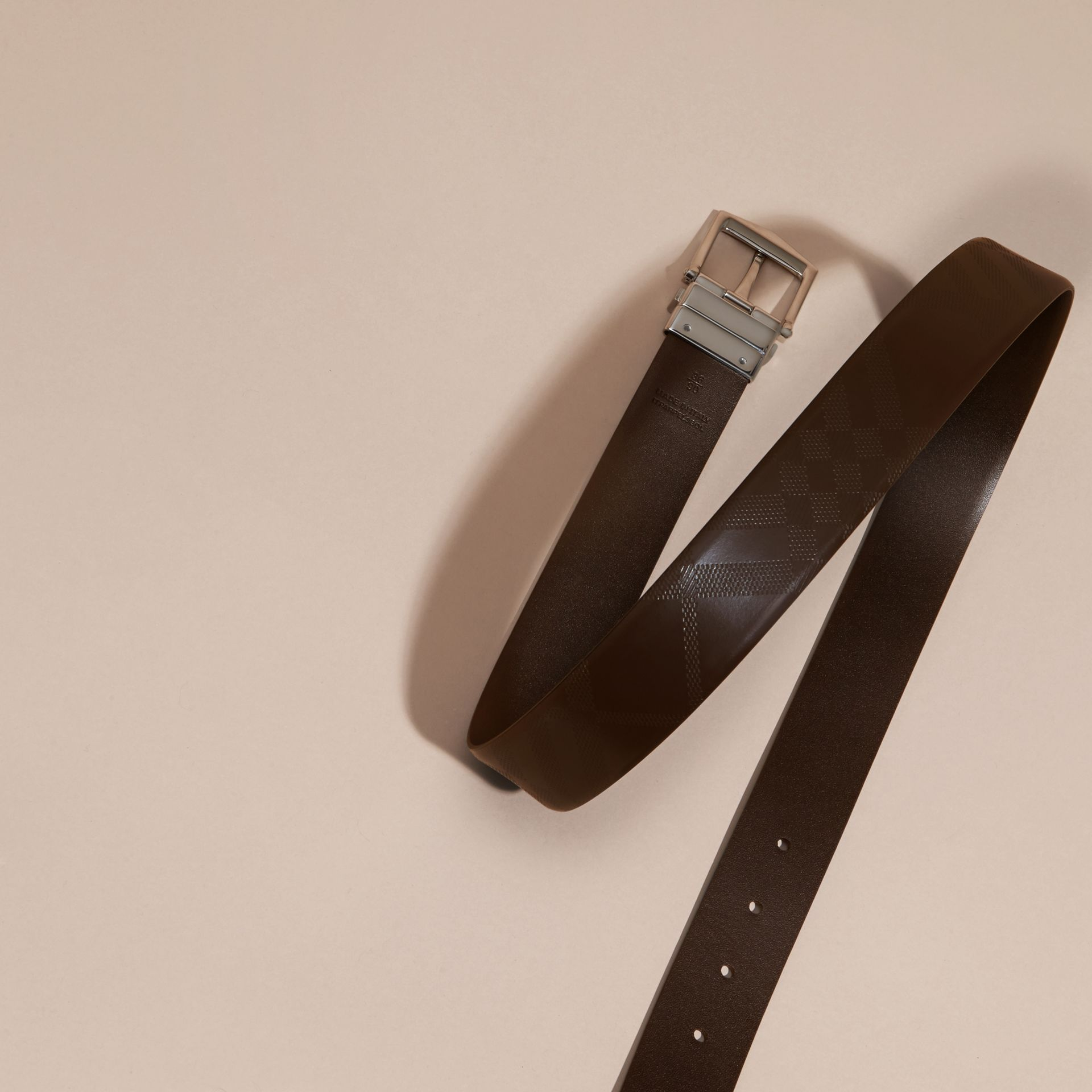 Reversible Leather Belt in Bitter Chocolate/black - Men | Burberry - gallery image 3