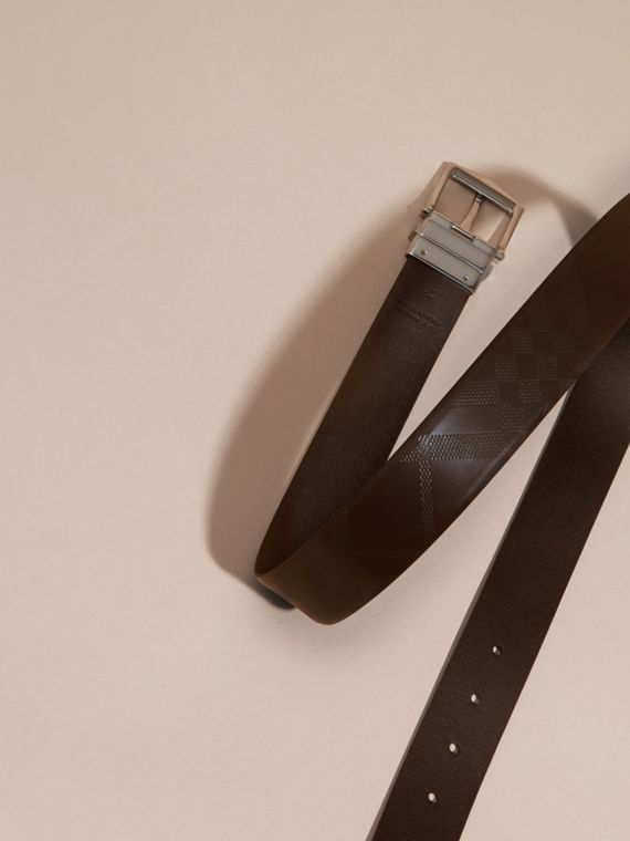 Reversible Leather Belt in Bitter Chocolate/black - Men | Burberry - cell image 2