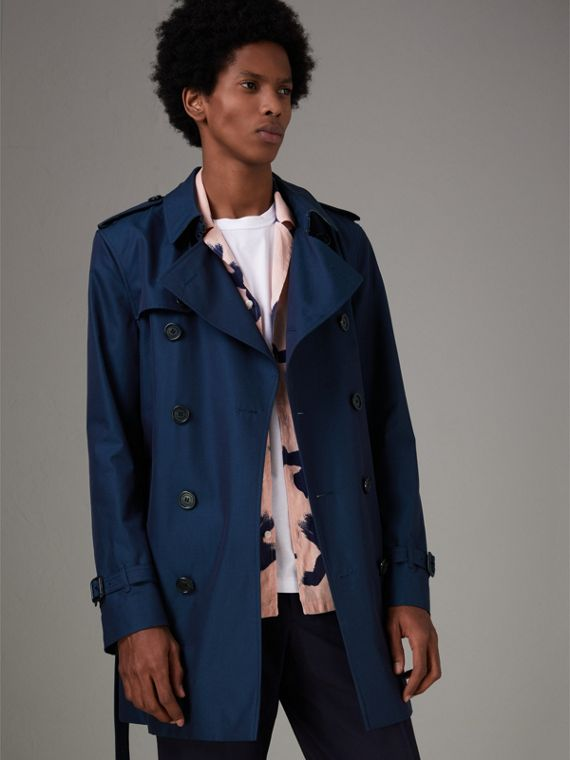 Cotton Gabardine Trench Coat in Teal Blue