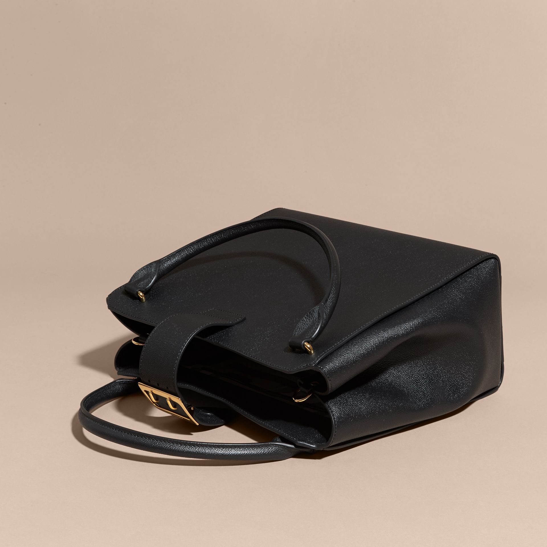 Black The Large Buckle Tote in Grainy Leather Black - gallery image 5