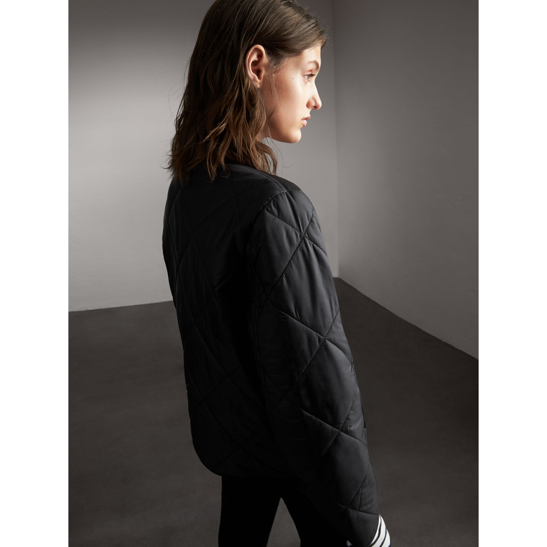 Collarless Diamond Quilted Lightweight Jacket in Black - Women | Burberry - gallery image 3