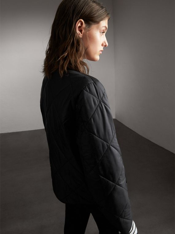 Collarless Diamond Quilted Lightweight Jacket in Black - Women | Burberry - cell image 2
