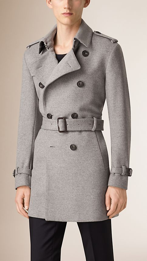 Pale grey melange Mid-Length Wool Cashmere Trench Coat - Image 2