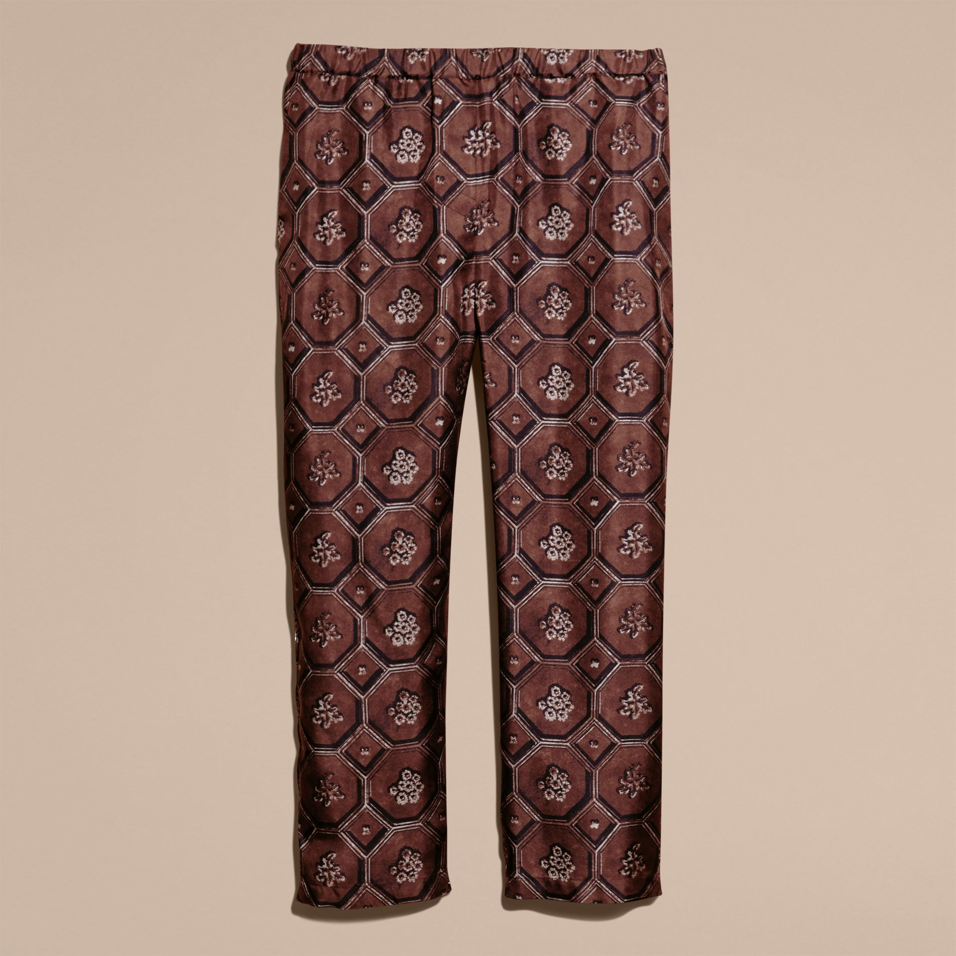 Geometric Wallpaper Print Silk Twill Cropped Pyjama-style Trousers Deep Claret - gallery image 4