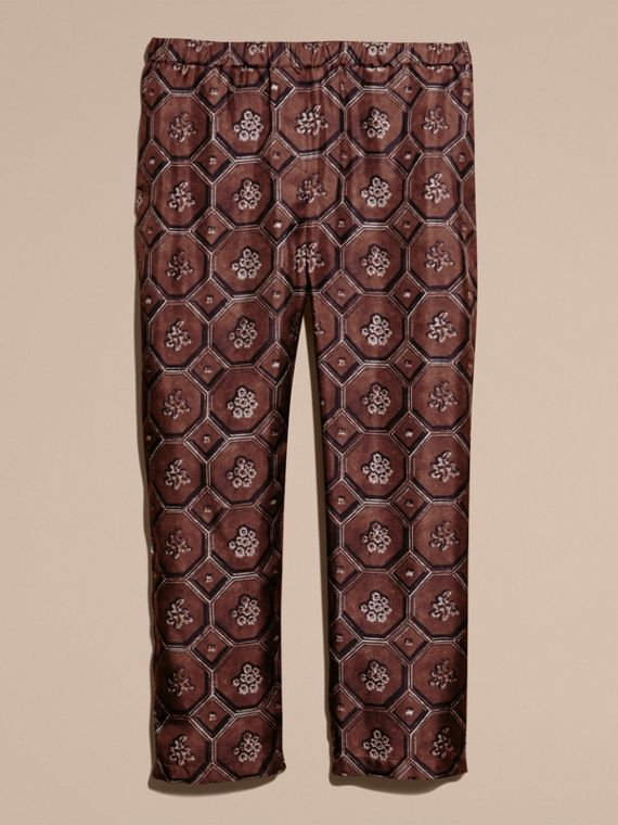 Deep claret Geometric Wallpaper Print Silk Twill Cropped Pyjama-style Trousers Deep Claret - cell image 3