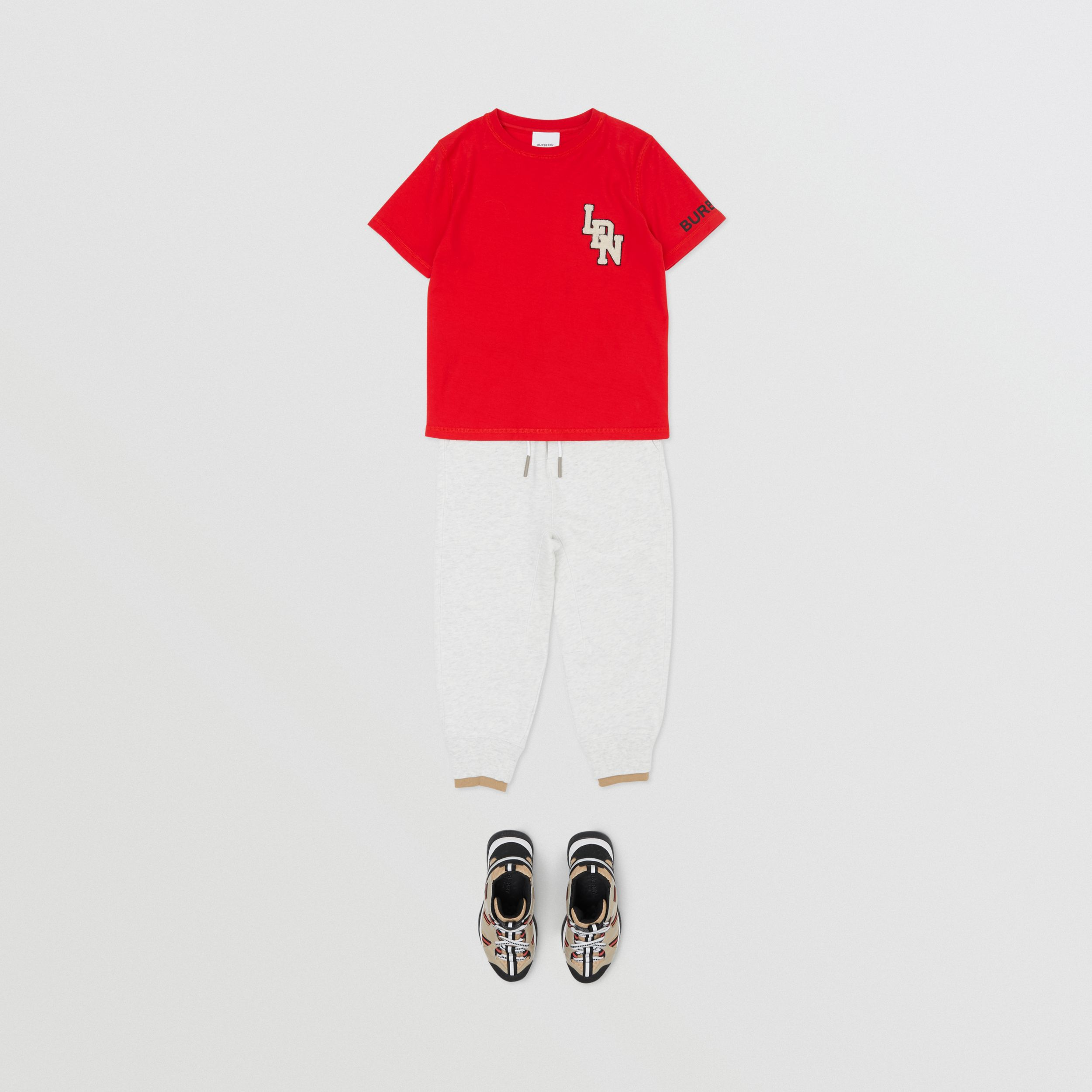 Logo Graphic Cotton T-shirt in Bright Red | Burberry - 3