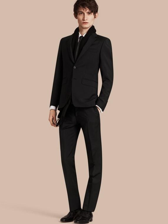 Slim Fit Wool Mohair Part-canvas Suit in Black