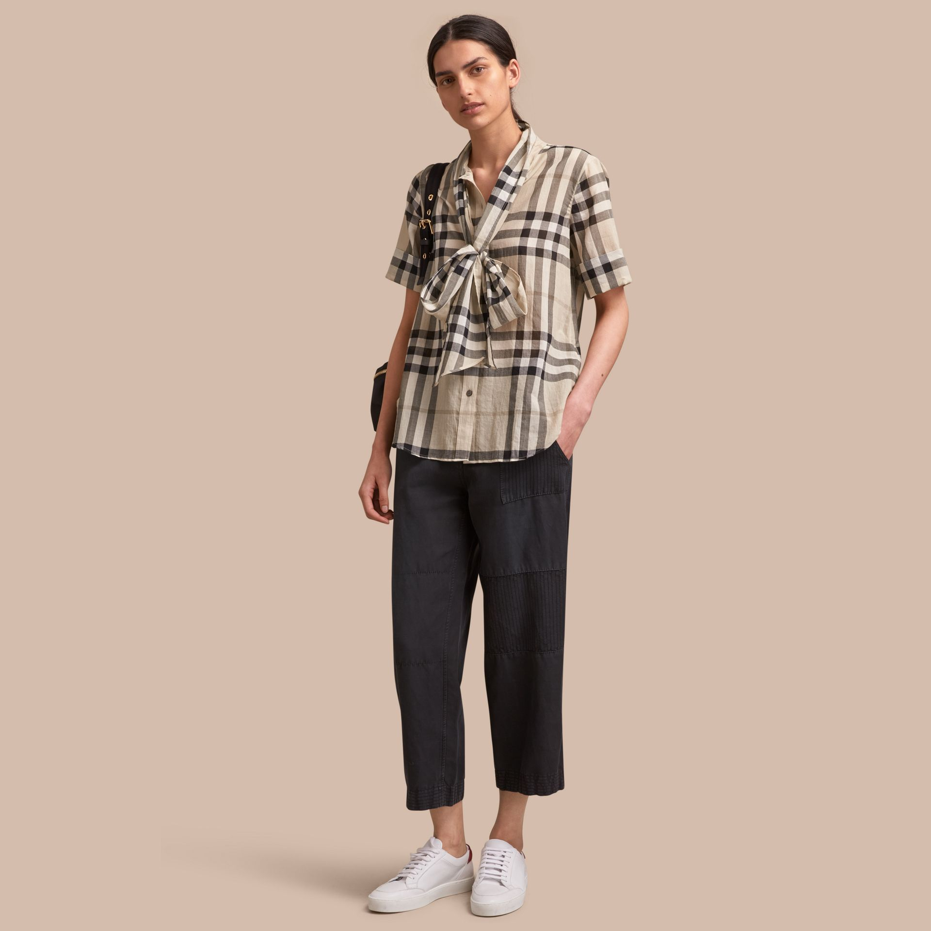 Short-sleeve Check Cotton Tie Neck Shirt in Chino - Women | Burberry - gallery image 1