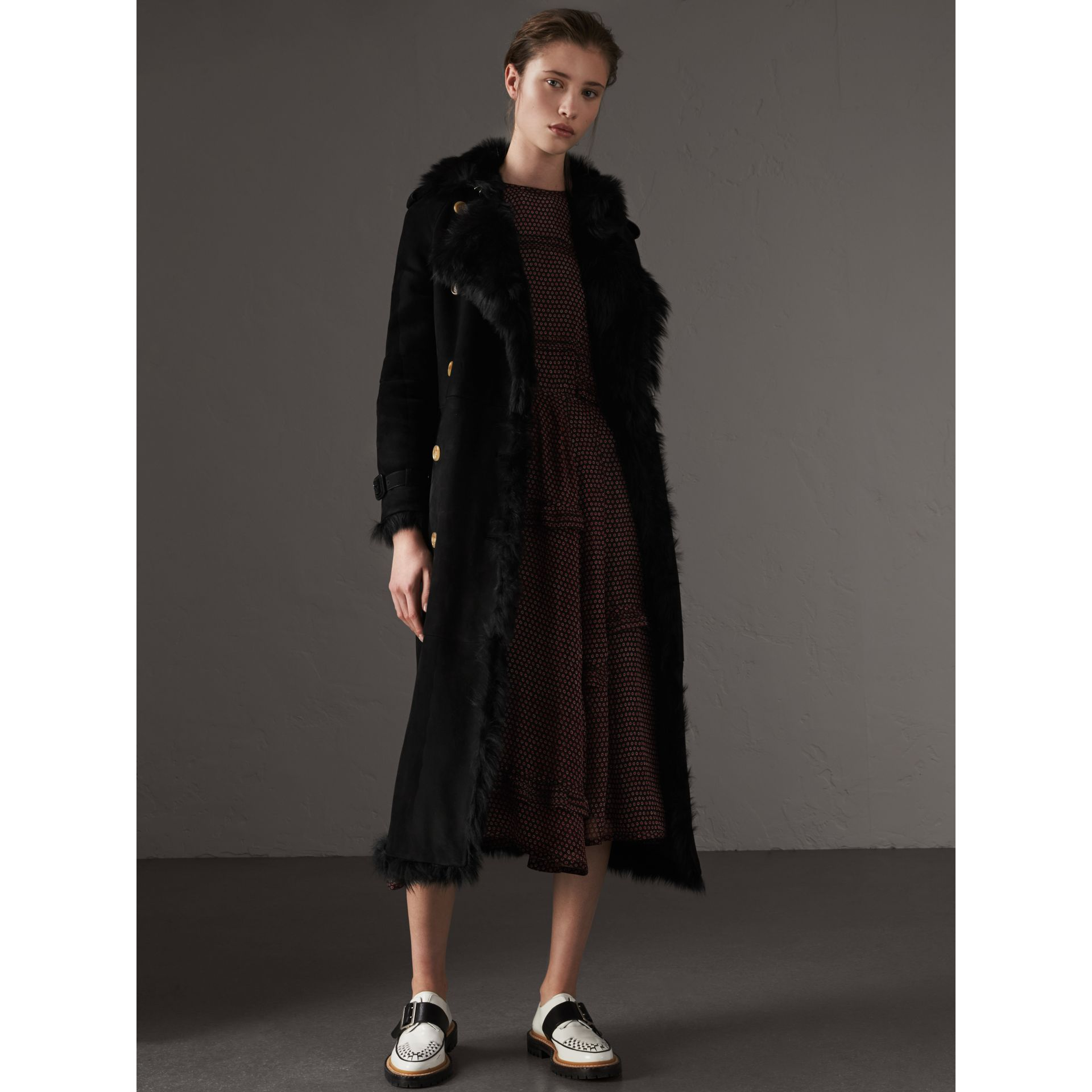 Shearling Trench Coat in Black - Women | Burberry United Kingdom - gallery image 0