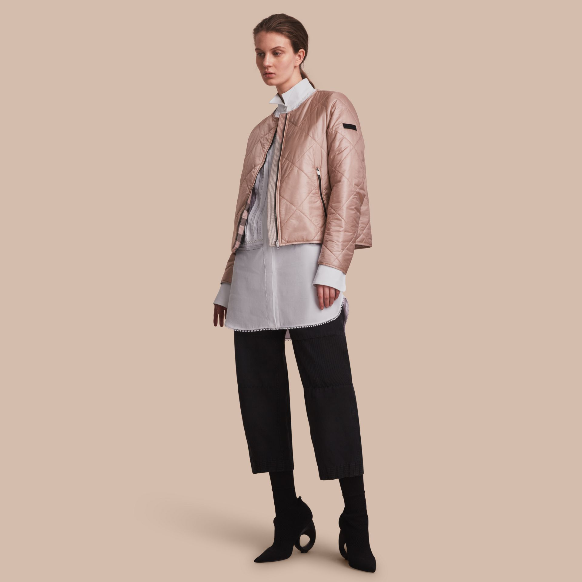 Collarless Diamond Quilted Lightweight Jacket Nude - gallery image 1