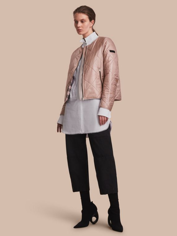 Collarless Diamond Quilted Lightweight Jacket Nude