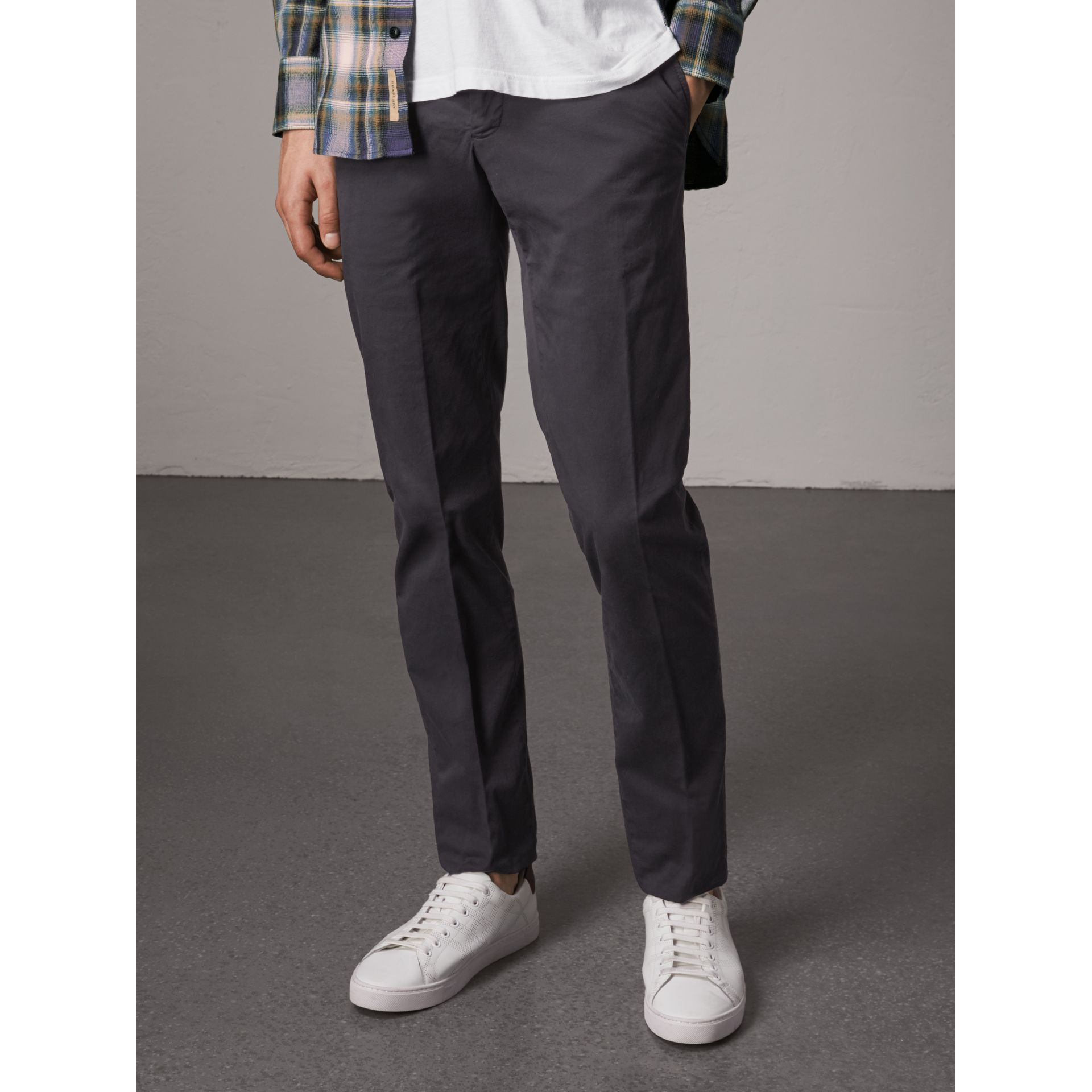 Slim Fit Stretch Cotton Chinos in Navy - Men | Burberry - gallery image 5