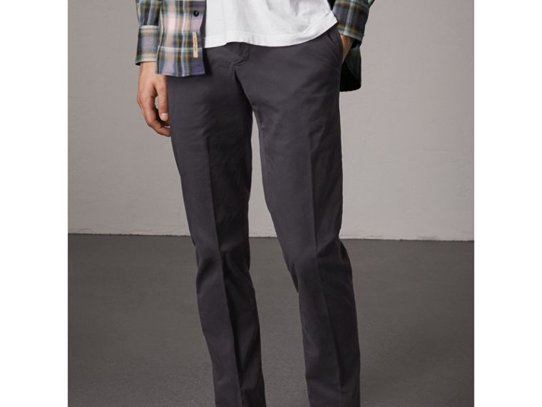 Slim Fit Stretch Cotton Chinos in Navy - Men | Burberry - cell image 4