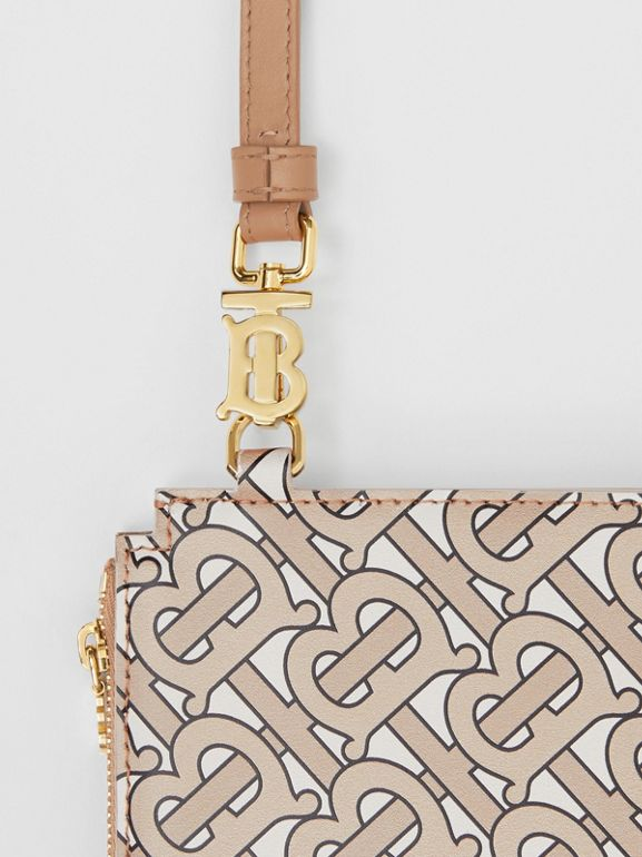 Monogram Print Leather Pouch in Beige - Women | Burberry - cell image 1