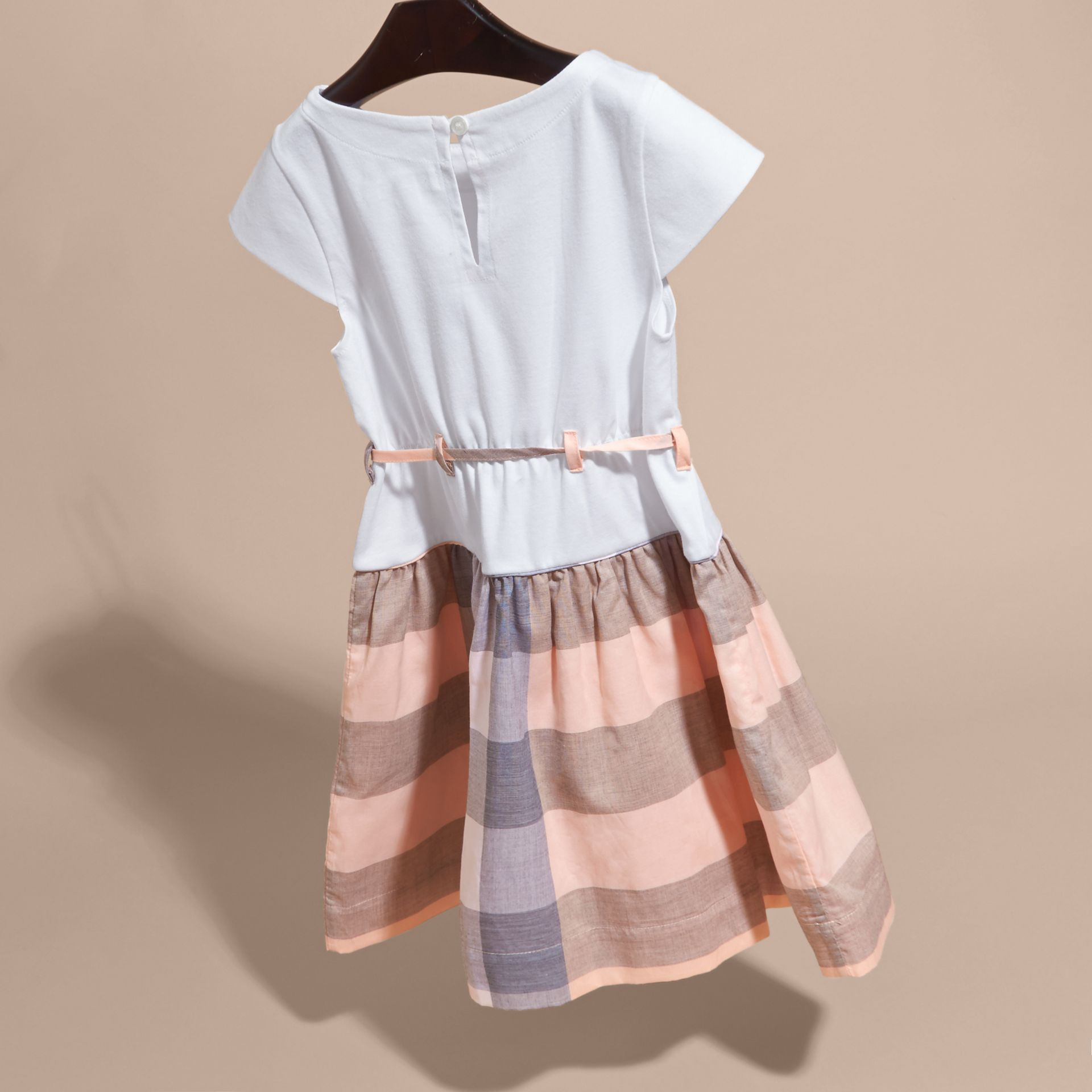 Check Cotton Dress with Cap Sleeves in Apricot - Girl | Burberry - gallery image 4