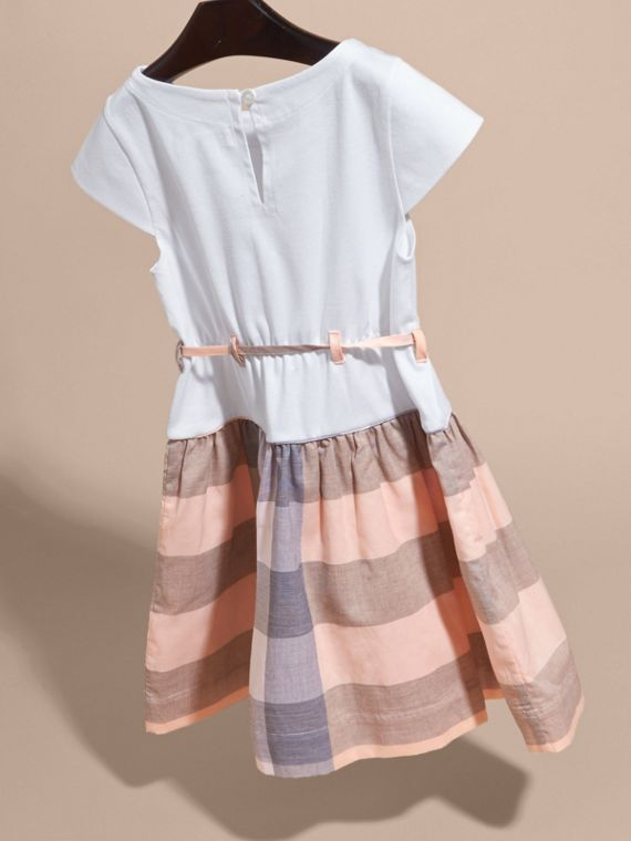 Check Cotton Dress with Cap Sleeves in Apricot - Girl | Burberry - cell image 3
