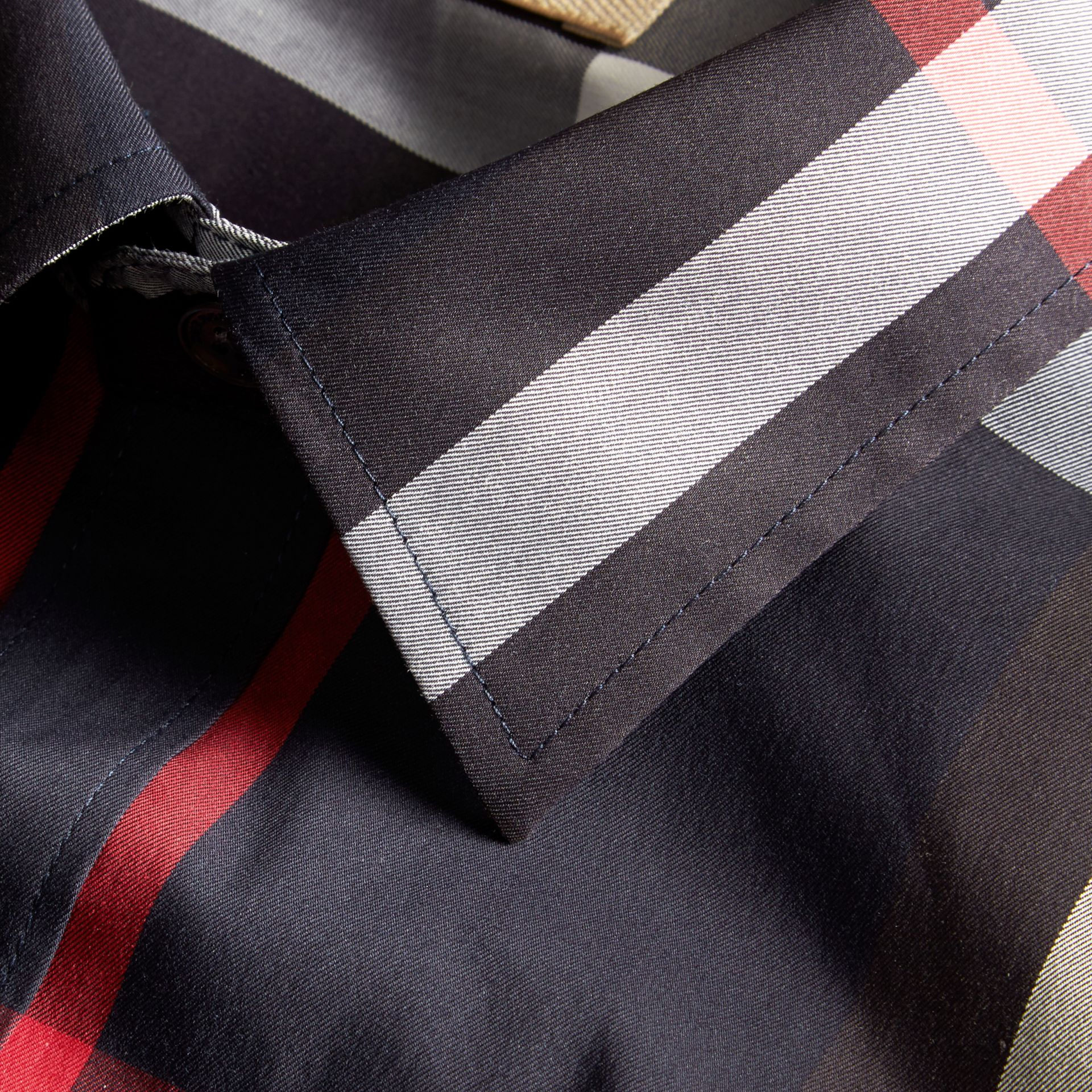 Navy Check Stretch Cotton Shirt Navy - gallery image 2