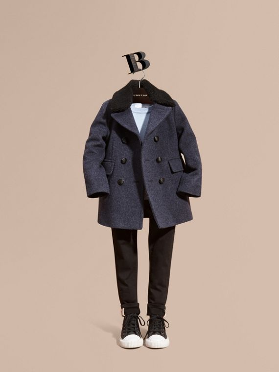 Detachable Shearling Collar Technical Wool Pea Coat