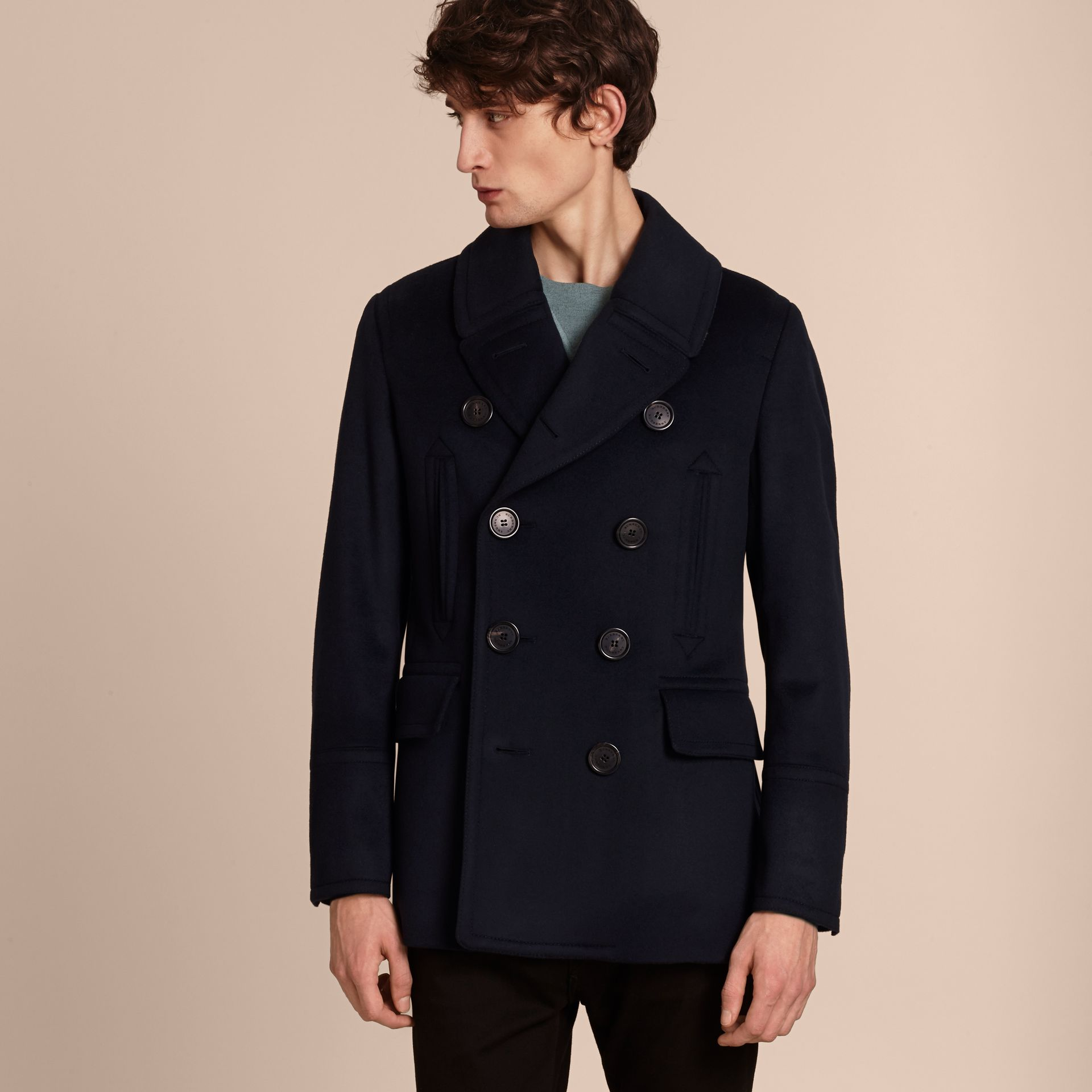 Wool Cashmere Pea Coat Navy - gallery image 7
