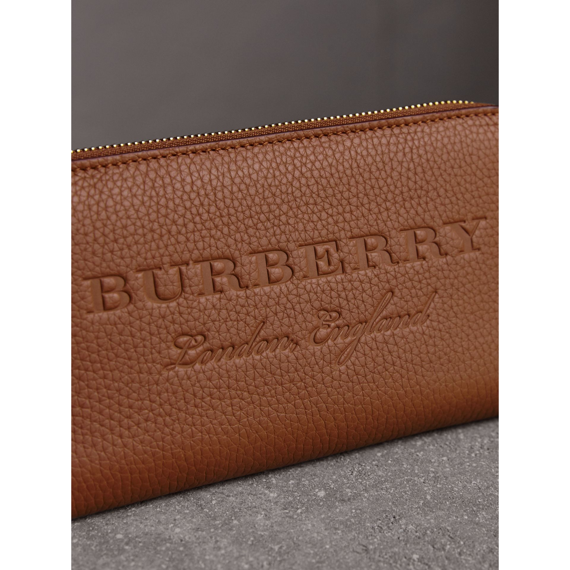 Embossed Leather Ziparound Wallet in Chestnut Brown - Women | Burberry - gallery image 1