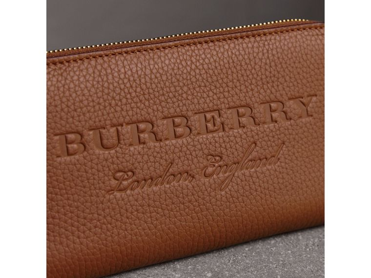 Embossed Leather Ziparound Wallet in Chestnut Brown - Women | Burberry - cell image 1
